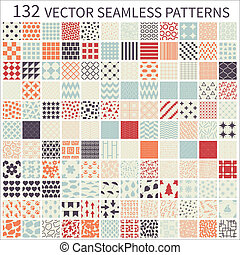 komplet, od, seamless, patterns.