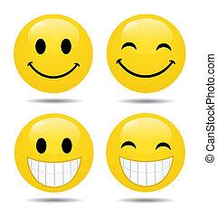 komplet, od, smileys