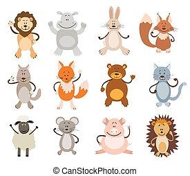 komplet, od, sprytny, animals., wektor, ilustracja