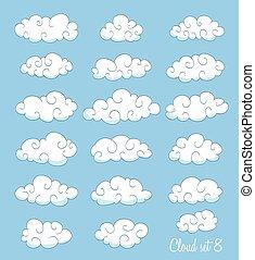 komplet, od, sprytny, chmury, z, swirls., wektor