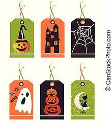 komplet, od, sprytny, halloween, tags., wektor, ręka, pociągnięty, illustration.