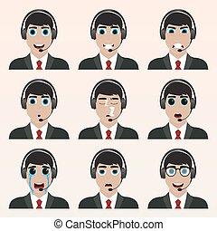 komplet, od, sprytny, operator, emoticons.