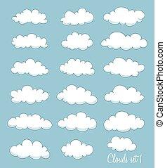 komplet, od, sprytny, rysunek, biały, clouds., wektor