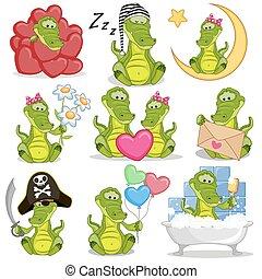 komplet, od, sprytny, rysunek, krokodyl