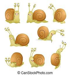 komplet, od, sprytny, rysunek, snails., wektor, ilustracja