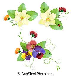 komplet, od, szlachecki, kwiatowy