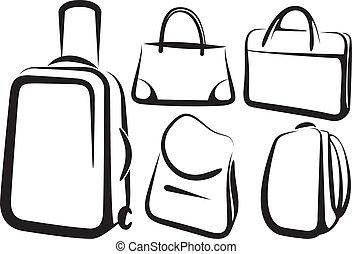 komplet, od, torba, ikony