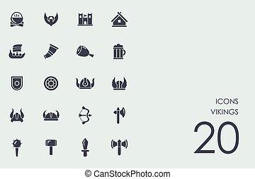 komplet, od, vikings, ikony
