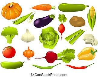 komplet, od, warzywa