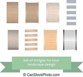 komplet, od, wektor, bridges.