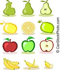 komplet, od, wektor, owoce, na białym, backg