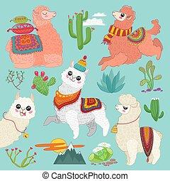 komplet, od, wektor, sprytny, wektor, alpaka, lama, i, pustynia kaktus, elements.
