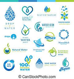 komplet, od, woda, ikony