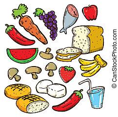 komplet, od, zdrowe jadło, w, doodle, styl