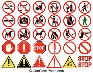 komplet, od, znaki, dla, różny, zabroniony, działalność