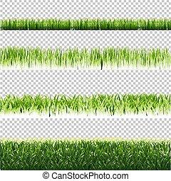 komplet, odizolowany, zielone tło, brzegi, trawa, przeźroczysty