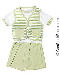 komplet, odizolowany, zielony, niemowlę, biały, odzież