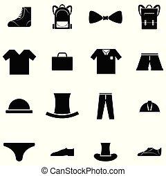 komplet, odzież, człowiek, ikona