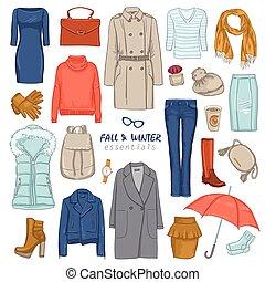 komplet, odzież, modny, ikona