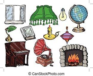komplet, okno, obiekty, piano, wewnętrzny, kominek