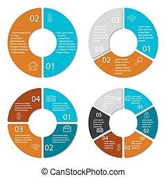 komplet, okrągły, infographic