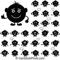 komplet, okrągły, smilies, czarnoskóry