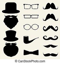 komplet, okulary, kapelusze, wąsy