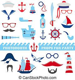 komplet, okulary, podpórki, -, maski, statki, wektor, mustaches, photobooth, morski, partyjne kapelusze