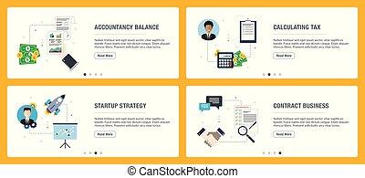 komplet, opodatkować, startup, icons., internet, księgowość,...