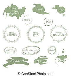 komplet, organiczny, eco, labels., wektor, kasownik, symbole