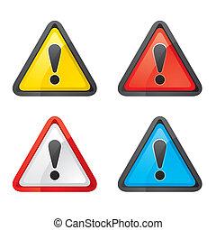 komplet, ostrzeżenie, ryzykować, uwaga, znak