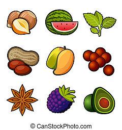 komplet, owoc, ikony