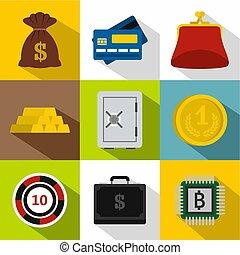 komplet, płaski, styl, finanse, ikony