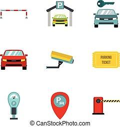komplet, płaski, styl, parking, ikony