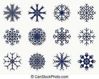 komplet, płatki śniegu, odizolowany, ilustracja, tło., wektor, biały, ikona