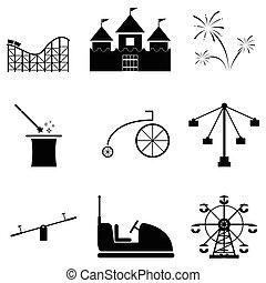 komplet, park, rozrywka, ikona