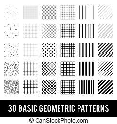 komplet, patterns., czarnoskóry, white., podstawowy, geometryczny, memphis, style.