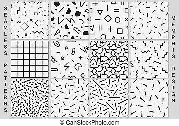 komplet, patterns., seamless, czarnoskóry, biały, memphis, textures.