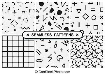 komplet, patterns., seamless, struktura, czarnoskóry, biały, memphis