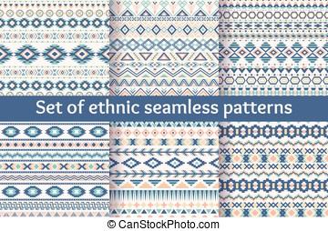 komplet, patterns., sześć, etniczny, seamless