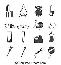 komplet, piękno, kosmetyczny, wektor, czarnoskóry, ikona