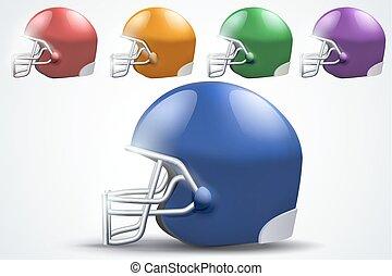 komplet, piłka nożna, amerykanka, prospekt., helmet., bok