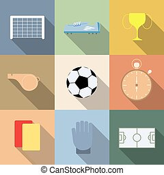 komplet, piłka nożna, ilustracja, wektor