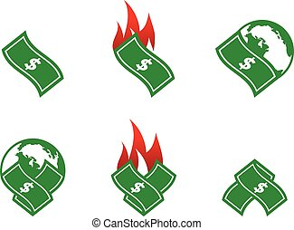 komplet, pieniądze, dolar, zbiór, wektor, szablon