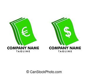 komplet, pieniądze, wektor, projektować, szablon, logo