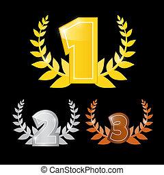 komplet, pierwszy, trzeci, ikony, -, złoty, drugi, wektor, ...
