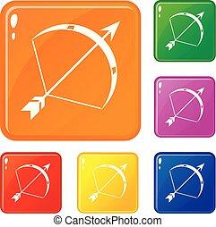komplet, pixy, ikony, kolor, łuk, wektor
