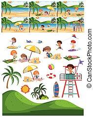 komplet, plaża, zbiór