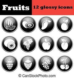 komplet, połyskujący, owoc, ikony