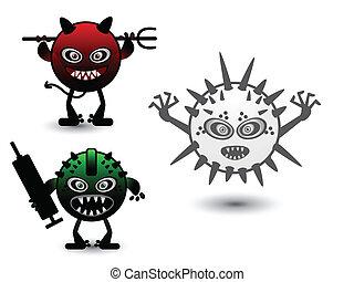 komplet, potwór, wirus